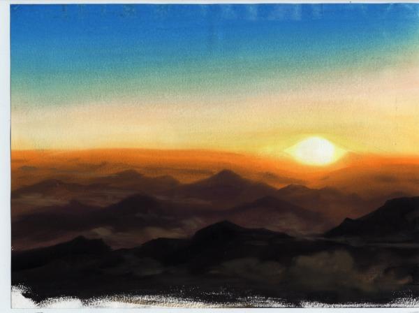 アナログ背景  夕景の描き方 アニメ背景