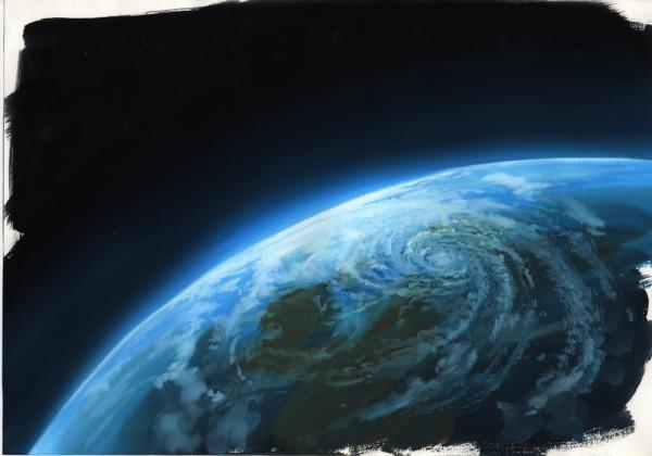 アナログ背景 地球を描いてみた 宇宙を描いてみた