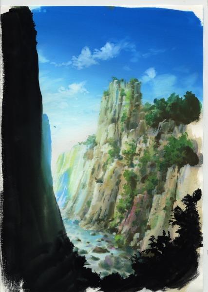 アナログ背景 崖を描いてみた アニメ背景