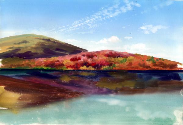 紅葉 水彩画