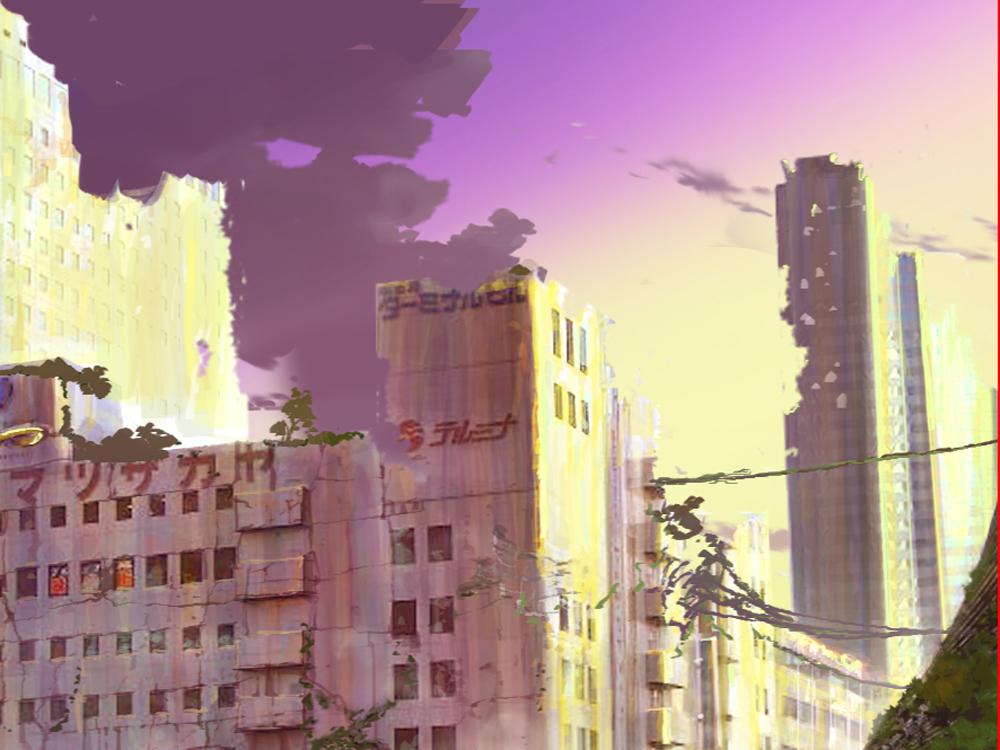 夕空 廃墟 ビル