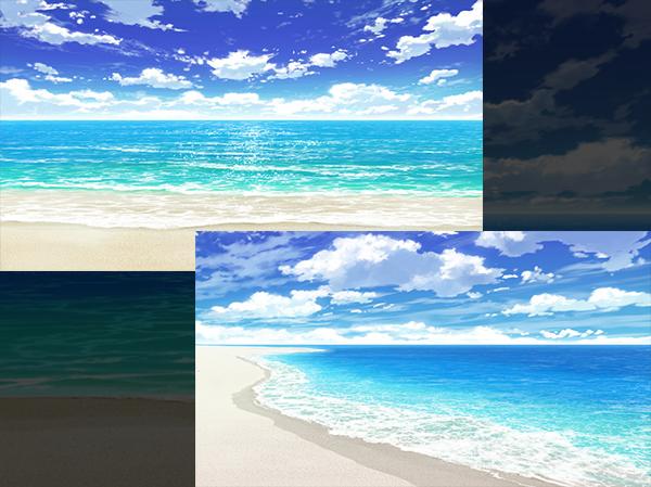 海 砂浜 アニメ背景