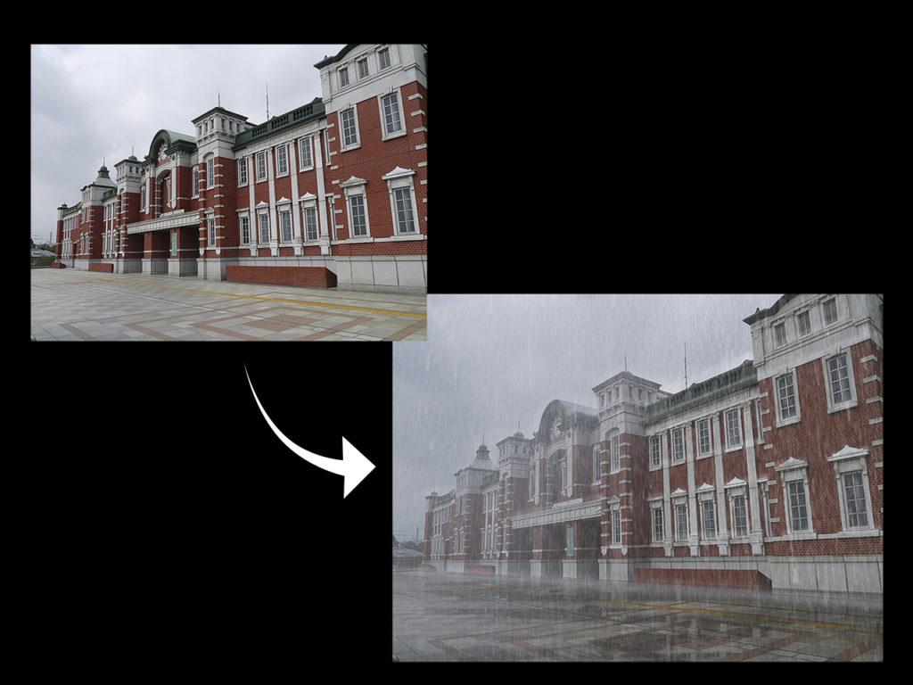 写真加工 雨 Photoshop