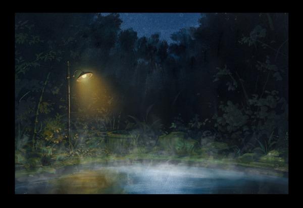 エアーブラシ 温泉 夜
